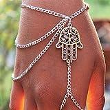 SROVFIDY mehrlagige Finger Ring Armband Hand Celebrity elegante Harness Quaste Slave Kette Kettenglied (M)