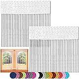 Fadenvorhang 2er Pack Gardine Raumteiler, Auswahl: 90x240 weiß - schneeweiß