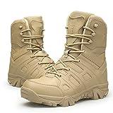 ZzWwYy Herren Military Combat Boots Hoch-Spitze Armee Tactical Booties Sicherheits-Turn- Arbeitsschuhe Patrol Polizei Wandern Kletterschuhe,Sand,44