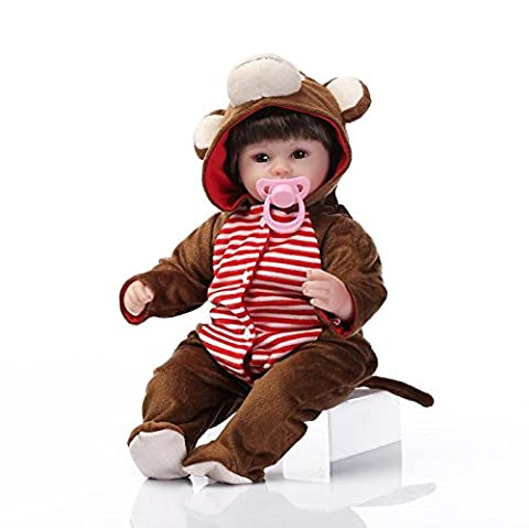 Nicery Reborn Baby Doll Soft Silicone Vinyl 18inch 45cm Magnetic Mouth Lifelike Boy Girl Toy Monkey Dress Eyes Open