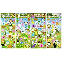 Sticker108 SET052-ZOOV2 - 4 Different Sheets Lovely Animal in Zoo Reusable Puffy Stickers