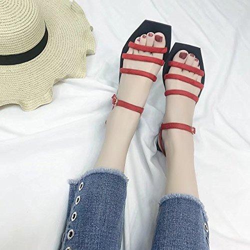 RUGAI-UE Una fibbia sandali donna estate semplice piatto fondo studente spiaggia Calzature Calzature Donna Gules