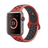 Tervoka Compatible with Apple Watch Correa 44mm 42mm, Banda Pulsera Brazalete de Repuesto de Silicona Suave Deportivo para iWatch Series 4/3/2/1, Tamaño M/L, Red/Black