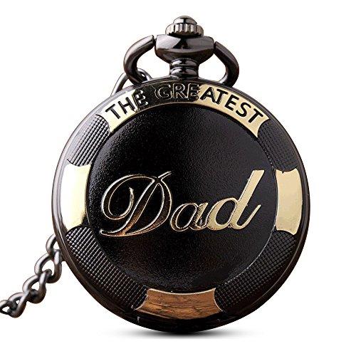 Gorben - orologio da taschino vintage al quarzo con catena e portachiavi, da uomo, in confezione regalo, ideale come regalo per il papàcon scritta