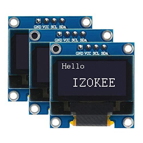IZOKEE Pantalla OLED LCD I2C IIC Interfaz 128x64 Píxeles 0.96 Pulgadas Chip SSD1306 para Arduino Raspberry Pi, Serie 51, Serie MSP430, STIM32 / 2, SCR (Blanco IIC)