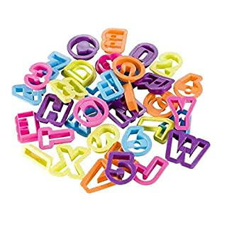 Alphabet and Numbers Cutters, 36 Pieces - Various Colours by ARTUROLUDWIG