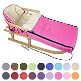 BAMBINIWELT Kombi-Angebot Holz-Schlitten mit Rückenlehne & Zugseil + universaler Winterfußsack (108cm), auch geeignet für Babyschale, Kinderwagen, Buggy, aus Wolle Uni (pink)