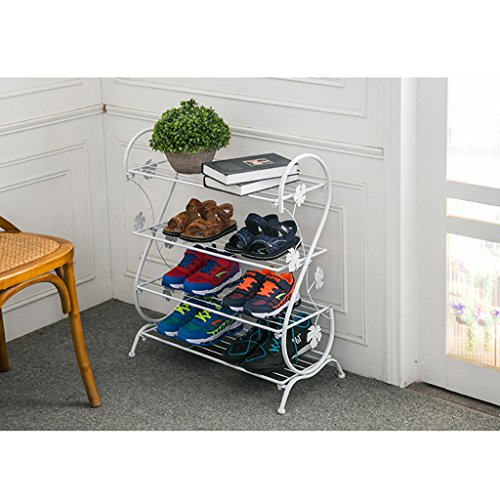 L&Y Garderobenschränke 4-Tier Schuhregal Eisen Einfache Lagerung Schrank Möbel mit Retro-Design...