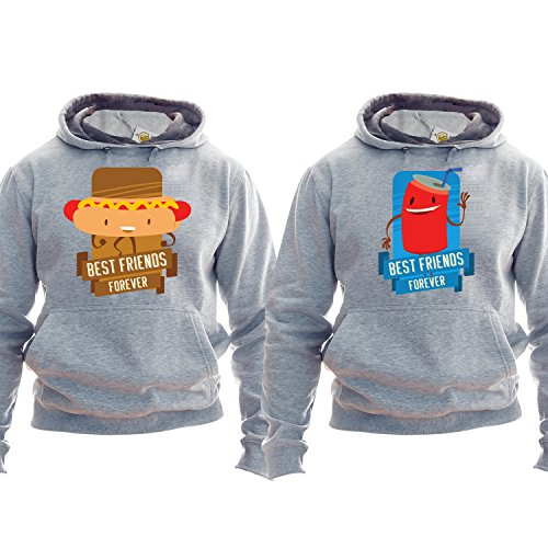 Best Friends Forever Hoodie Kapuzenpullover Kapuzenshirt Hot Dog And Drink Matching Friends Outfit (Hoodie Dog Hot)