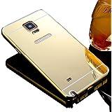 Sunroyal® Carcasa Samsung Galaxy Note 4 SM-N9100 Funda Aluminio carcasa Oro Metal Mirror Bumper phone case Hard Cover with Frame caja del teléfono Protectora cáscara chic marco + espejo espalda