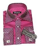 Jungen besonderen Anlass Hochzeit Smart Shirt, Krawatte Manschettenknöpfe und Taschentuch Set Gr. 1-2 Jahre, pflaume