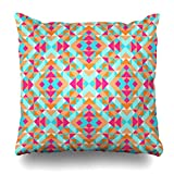 Zierkissenbezüge, Throw Pillow Covers, Festival Mexican Ethnic Geometric Pattern Tribal Folk Abstract African Indigenous Brazilian Boho Pillowcase Square Size 18 x 18 Inches Home Decor Cushion Cases