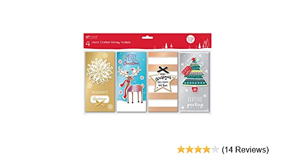 8 Xmas Luxury 3D Christmas Money Gift Voucher Wallet With Envelopes Four Designs