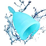 NUMBER 1 RATED - Menstrual Cup - Best Reusable Menstrual Protection - For Post and Pre-Childbirth - With FREE Ebook and bag - (Small Size, Blue). CE Approved