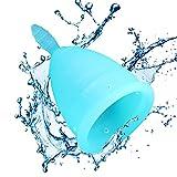 COUPE MENSTRUELLE Zen Gina, l'alternative aux tampons et serviettes hygiéniques - Coupelle hypoallergénique bleue 100 % silicone médical - taille S - Pochette en coton et garantie offertes