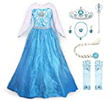 JerrisApparel Prinzessin Kostüm Karneval Verkleidung Party Kleid (120, ELSA with Accessories)