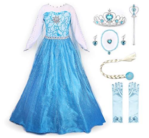 JerrisApparel Prinzessin Kostüm Karneval Verkleidung Party Kleid (110, ELSA mit - Frozen Die Eiskönigin 2 Kostüme