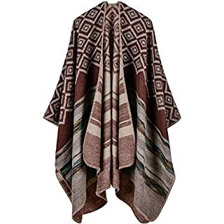 Womens Reversible Oversized Blanket Poncho Cape Shawl Cardigans (One Size, Lattice stripes/Coffee)