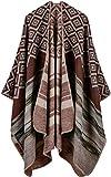 Damen Poncho Herbst Winter Kariert Capes Patchwork Strickjacke Mehrere Funktion (One Size, Gitterstreifen / Kaffee)