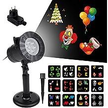 Projecteur Noël Vsllcau Projecteur Exterieur Intérieur de 12 Motifs Étanche Lampe LED Lumière de Jardin pour Décoration Fête Halloween Mariage Partie Soirée