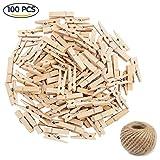 Ouinne 100Stück Mini Holzklammern, 35MM Mini Craft Pegs Holz Wäscheklammern mit 50M Juteschnur für Dekozwecke und Zum Basteln