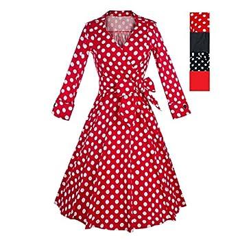 iHAIPI - Damen Kleid mit Kragen Bei 50 Jahre Peas 'Iris' 3/4 Ärmel Kleid (01. EU 36 (Herstellergröße:S), 03. rot Dot)
