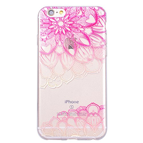 Yokata iPhone 6 / iPhone 6s Hülle Transparent Weich Silikon TPU Case Handyhülle Schutzhülle Durchsichtig Clear Backcover Bumper mit Violett Muster + 1 x Kapazitive Feder Mandala