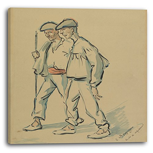 Printed Paintings Impression sur Toile (70x70cm): Jacques Ochs - Deux Vieux Hommes...