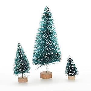 Gemini_mall® 3pcs Mini Christmas Tree Christmas Party Decor Miniature Cedar Doll House Decoration Xmas