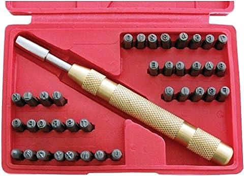 38pièce automatique Lettre et numéro Ensemble de tampons stamping Métal Punch Outil Kit