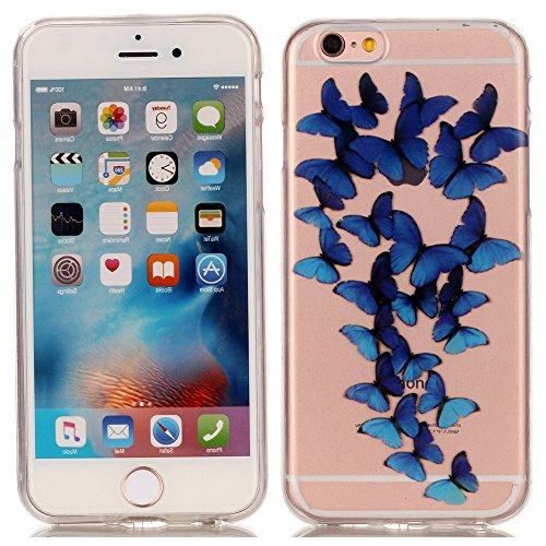 iPhone 6 6S Hülle,iPhone 6 6S Case [Scratch-Resistant] , Cozy Hut ® Ananas Design Niedliche Cartoon Malerei Silikon Hülle / Schutzhülle / Cover für iPhone 6 6S (4,7 Zoll), TPU Clear Transparent Protec Blue Butterfly
