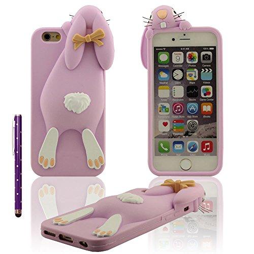 iPhone 7 Coque Case Doux Silicone Plastique Gel Housse de Protection Anti Choc 3D Mignon lapin Rose Etui Apple iPhone 7 4.7 inch X 1 stylet violet