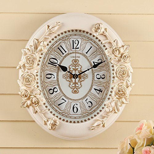 OLILEIO jardin rose rétro style Européen Watch Quartz Horloge Horloge murale Horloge Guabiao,Salle d'art muet 20 pouces (50,5 cm de diamètre), la lumière (réveil stéréo)