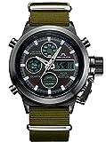 Relojes Hombre Reloj de Pulsera Militar Deportivo Analogico Digital Cronografo Reloj para Hombres Caballeros Multifuncion Luminosos Alarma Moda Vestido con Correa de Nylon Verde