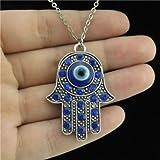 9–318'cadena de plata cuello collar azul rhinestone mal de ojo mano de Fátima colgante