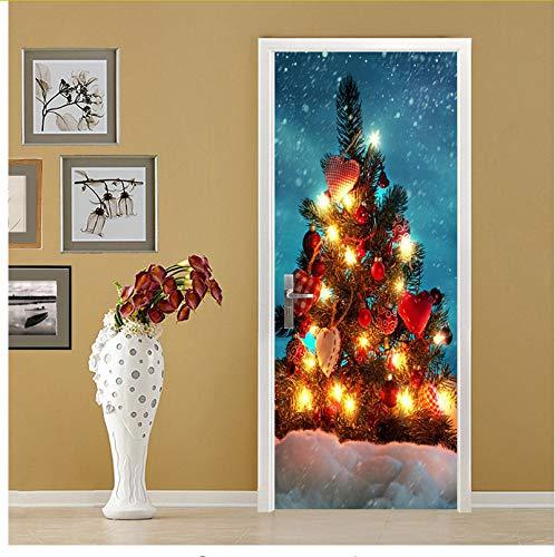 Türaufkleber Weihnachtsbeleuchtung Baum Tür Aufkleber Für Wohnzimmer Wohnzimmer Kunst Pvc Wasserdicht Aufkleber Von Wrap