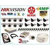 Hikvision 16 Ch Turbo HD Dvr & Mersk Full HD (4MP) CCTV Camera Kit with All Required Accessories (2 TB Hard Disk) Note : No Installation Service