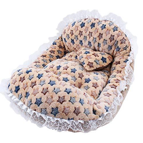 HUIFANG Spitze Welle Punkt Barren Zwinger Senden Spielzeug Kleines Kissen Indoor Warm Teddy Haustier Nest A (Farbe : Brown)