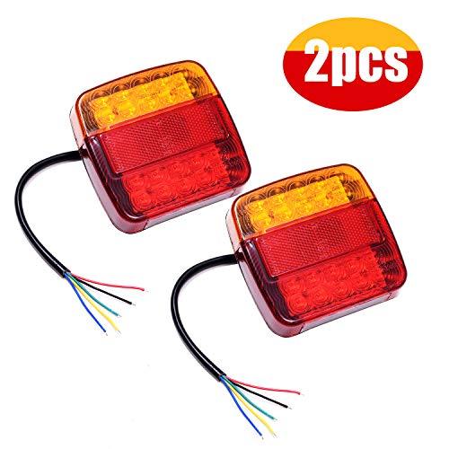 2pcs led posteriori luci fanali posizione lampadine indicatori di parcheggio impermeabile 12v lampada del freno per veicolo rimorchio caravan camion trattore autocarro (20led-breve)