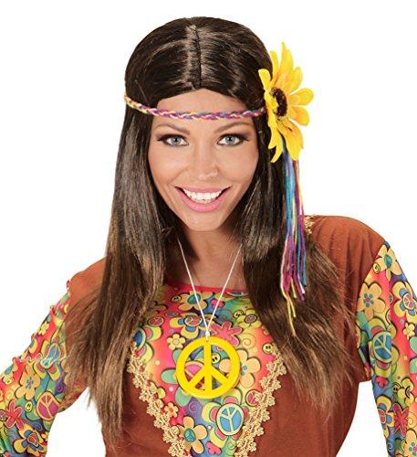 Perücke Braun Kostüm Zubehör - Karneval Klamotten Kostüm Perücke Hippie Dame braun mit Stirnband und Sonnenblume Zubehör Fasching Karneval