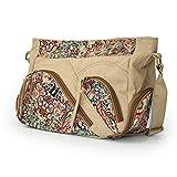 Unisex Large Canvas Vintage Messenger Satchel Crossbody Shoulder Bag for School/Work/Travelling (Khaki, Patchwork)