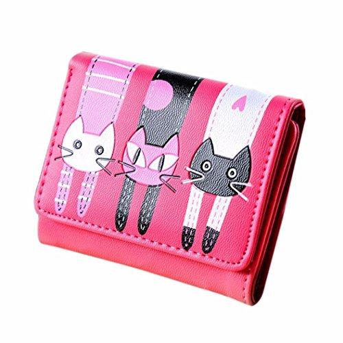 Purse Goosun Frau Katze Muster Münze Geldbörse Mit Metall Verschlussart Kurze Brieftasche Kartenhalter Handtasche Damen Portemonnaie Minibörse Minigeldbörse Münzbeutel Geldsäckchen (1 PCS, Heiß Rosa)