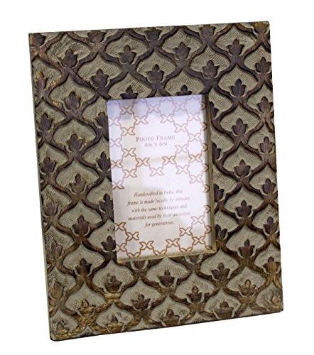 Portafoto cornice da tavolo in legno intarsiato boccioli h27x22x2 cm