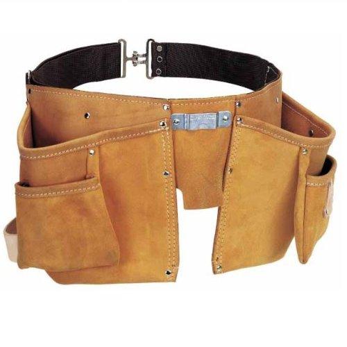 Stanley Werkzeuggürtel/Gürteltasche aus hochwertigem Leder (59x34x10.8cm, doppelt gestickt, 4...