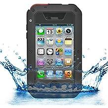 iPhone 4 / 4s - iProtect Funda protectora carcasa para actividades al aire libre con cristal blindado con tecnología a prueba de golpes y suciedad en negro