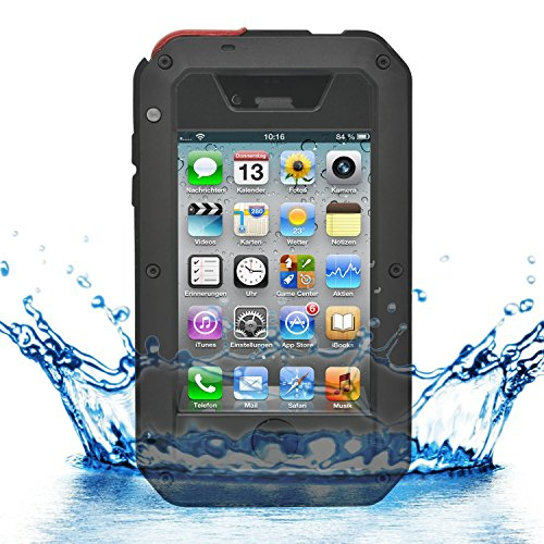 iProtect iPhone 4 / 4s Outdoor Case Schutzhülle Hartglas Shock- and Dirtproof in schwarz