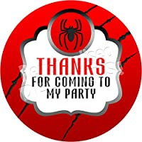 Personalised Delights Superhero Spider Logo Sticker Labels (24 Stickers, 4.5cm Each) NON PERSONALISED Seals Ideal for Party Bags, Sweet Cones, Favours, Jars, Presentations Gift Boxes, Bottles, Crafts