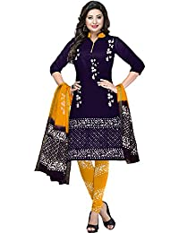 c7c1596991 AngelFab Women's Cotton Batik Printed Dress Material(3010_Navy and  Yellow_Free Size)
