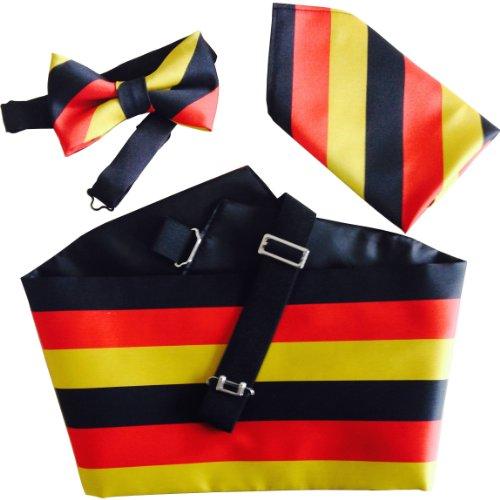 Great British Tie Club Deutsch Flagge Kummerbund: Beinhaltet Fliege und Einstecktuch