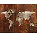 Fototapete Weltkarte Vlies Wand Tapete Wohnzimmer Schlafzimmer Büro Flur Dekoration Wandbilder XXL Moderne Wanddeko - 100% MADE IN GERMANY - Braun Gold - Runa Tapeten 9031010a